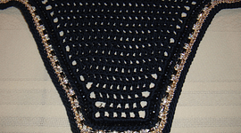 Navy Square Front Bonnet with Gold Sparkle Trim, Double Crystals